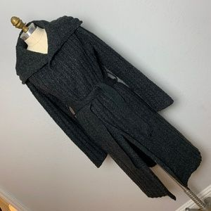 Vera Wang M Long Grey Gray Maxi Wrap Sweater